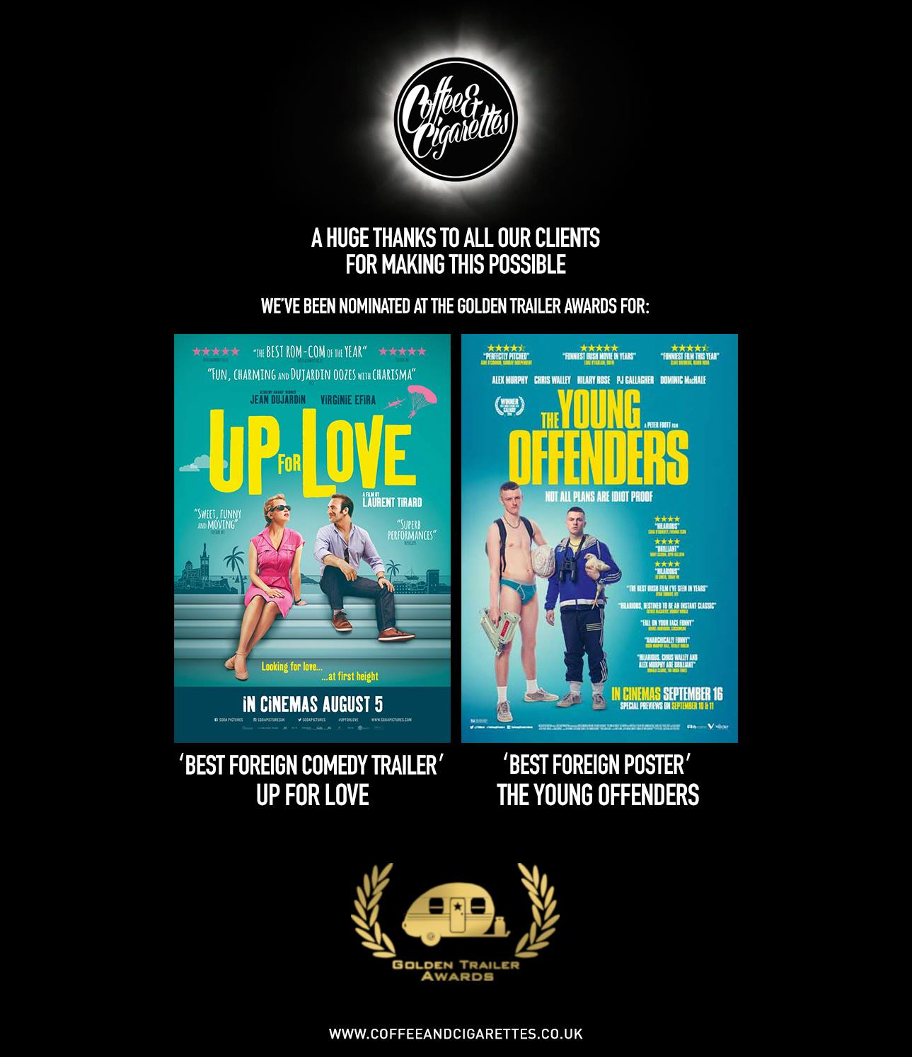 Golden Trailer awards nomination for best trailer and best poster film